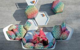 Missoni Home, outdoor furniture, garden furniture, patio furniture, outdoor sofa, chairs, tables, stools, Hive, Fabrice Berrux, EGO Paris, Missoni