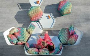 Missoni Home, outdoor furniture, garden furniture, patio furniture, outdoor sofa, chairs, tables, stools, Hive, Fabrice Berrux, EGO Paris, Missoni
