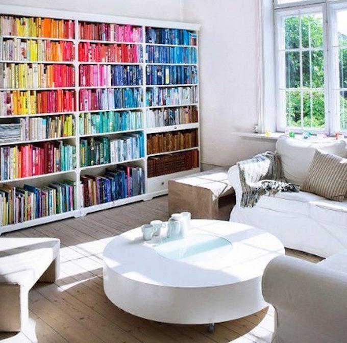 designfix, home library, rainbow shelves, color coded shelves, colour coded