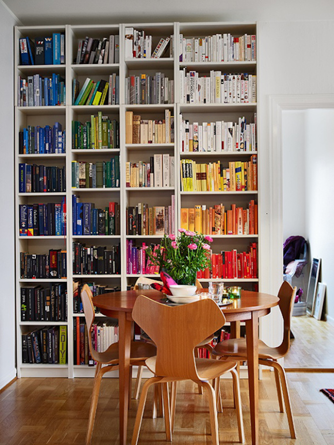 color coded bookshelf, colour coded,
