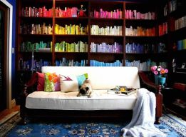 designfix, home library, rainbow shelves, color coded shelves