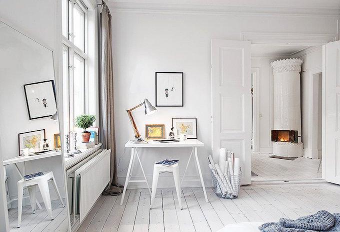all white study, white room, design fix