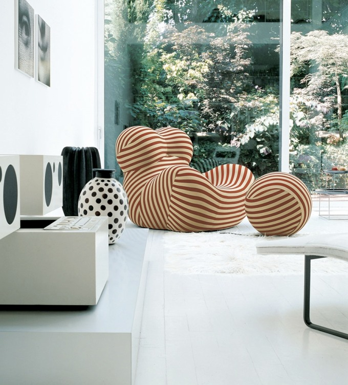 B&B Italia, 50 years, Salone del Mobile, design fix, DesignFix, Eleanor Joslin, Serie Up 2000, stripy chair