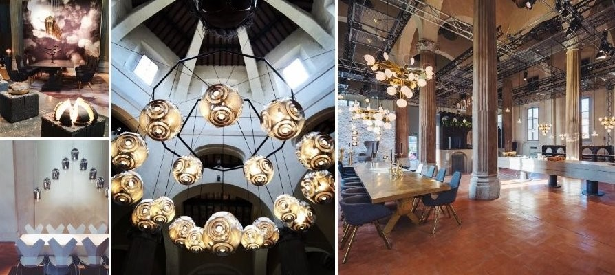 Caesarstone, Tom Dixon, Salone del Mobile, Milan furniture fair, The Restaurant, Copper pendant, Curve pedant, kitchen design, eleanor joslin, design fix, designfix, design blog