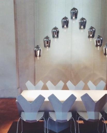 Caesarstone, Tom Dixon, Salone del Mobile, Milan furniture fair, The Restaurant, Copper pendant, Curve pedant, kitchen design, eleanor joslin, design fix, designfix, design blog